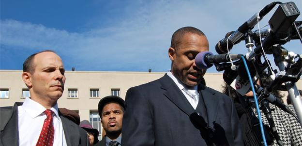 Former D.C. Council member Harry Thomas Jr., right, speaks outside of the court room Friday to family and supporters.
