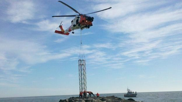 Coast Guard officials installed a temporary jetty after the original was lost in Hurricane Irene last summer.
