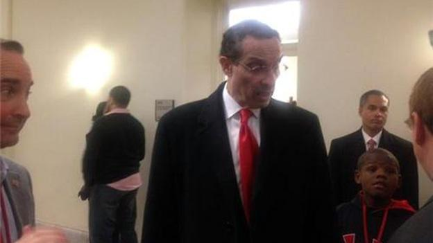 D.C. Mayor Vincent Gray stopped by the Wilson Building shortly after the address.