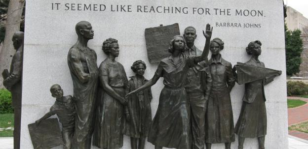 The AARP and DOVE are teaming up to teach the living history of desegregation -- an issue celebrated in this memorial in Richmond to Barbara Johns and her protest against racial segregated schools in 1951.
