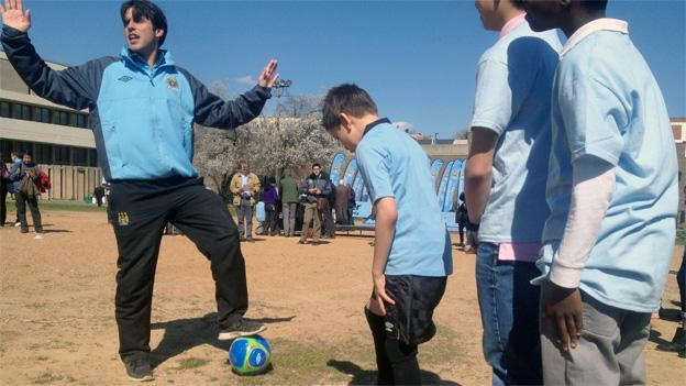 Students at Marie-Reed Elementary line up for soccer drills on Tuesday.