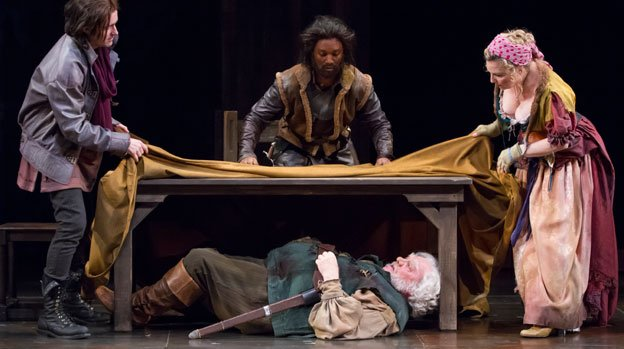 Stacy Keach as Falstaff, Matthew Amendt as Prince Hal, Jude Sandy as Poins, and Kate Skinner as Mistress Quickly in the Shakespeare Theatre Company production of Henry IV, Part 1, directed by Michael Kahn.