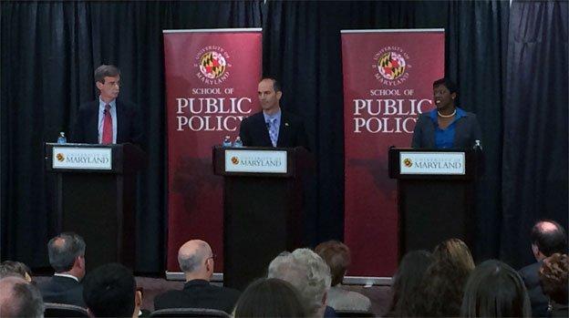 Sen. Brian Frosh, left, Del. Jon Cardin and Del. Aisha Braveboy squared off in a debate Monday night.