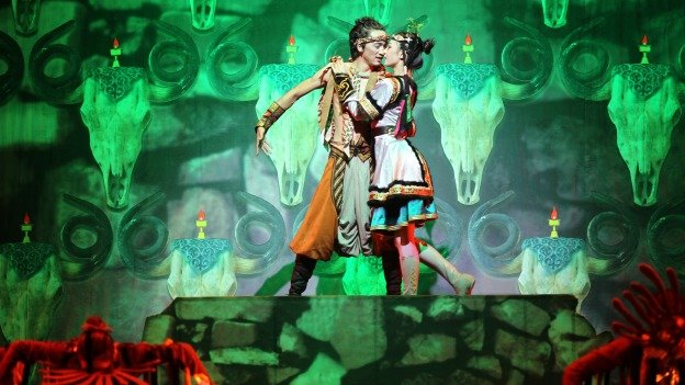 Wedding of Ordos is a musical epic told in 8 chapters. It follows a young couple through a traditional Mongolian courtship, culminating in an elaborate wedding.
