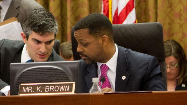 Former D.C. Council Chair Kwame Brown at the council dais in January.
