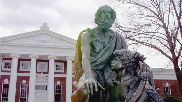 A statue of Homer at the Unversity of Virginia. The university has been the site of much dispute in recent weeks as the board announced the resignation of its former president, Teresa Sullivan.