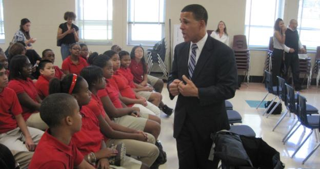 Maryland lieutenant governor Anthony Brown speaks to students at Benjamin Stoddert Middle School in Temple Hills.