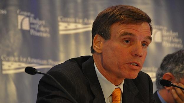 Sen. Mark Warner at a panel discussion sponsored by the Center for America's Progress and the Center on Budget and Policy Priorities on Sept. 30, 2009.