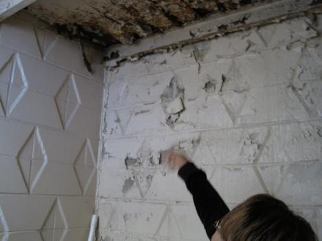 Renee Sampson points out peeling paint underneath a stairwell at their condo building in Southeast D.C.