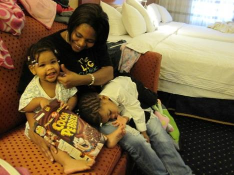 After a fire destroyed her childhood home in southeast D.C., mother of seven Kimberly Ware got help from the Red Cross, which temporarily housed her family at a Courtyard Marriot in northwest D.C. Ware is awaiting to see if she will qualify for shelter assistance, but worries her children will be separated in the process.