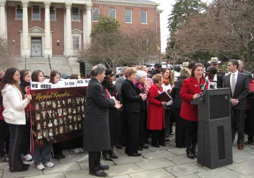 Maryland lawmakers and the group Mothers Against Drunk Driving hold a press conference in front of the Maryland State House. They're calling for a new law to be passed requiring all convicted drunk drivers to install ignition interlock devices in their cars.