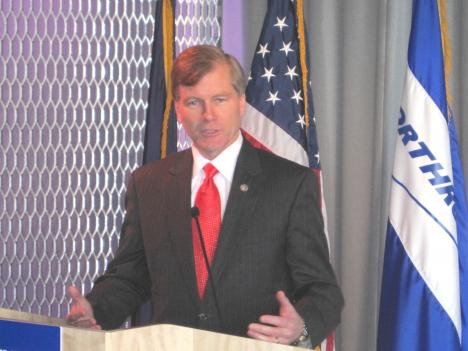 Virginia Gov. Bob McDonnell says the new Northrop Grumman headquarters will create more than 300 new jobs.