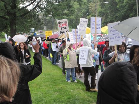 More than a 1,000 nurses rallied to demand better working conditions and wages.
