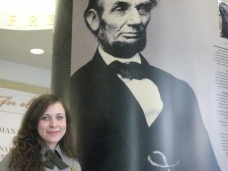 NPS Ranger Yana Jaffe and our 16th U.S. president, whose birthday falls on Feb. 12.