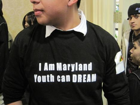 Maryland high school student Daniel Sanchez shows his support for the state's version of the DREAM Act during a hearing in February.