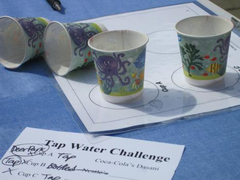 Two of these cups hold tap water, bottled water in the rest. Subjects had to sample each and see if they could tell which is which.