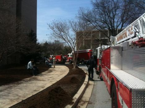 Fire and EMS personnel responded to an incident at the chemistry building at American University Thursday.