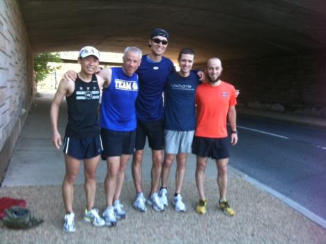 Dojo of Pain members Daniel Yi, Richard Rainey, PJ Martinez, Brian Savitch and Jeff King begin running at Hains Point.