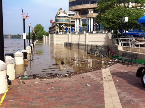 Along the Georgetown waterfront on May 20. The dock master at Thompson's Boat Center says the waters are too dangerous for boating.
