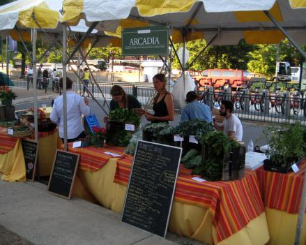 Fresh lettuce sits atop the Arcadia Food table at the inaugural festivities of a Farmers Market in Southwest D.C. Arcadia Food works to expand access to locally grown produce by selling the fruits and vegetables at farmers markets and running educational programs.