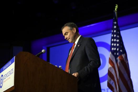 Former Gov. Tim Kaine speaks at A DNC event September. Kaine is running for U.S. Senate in Virginia.