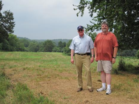 Lloyd Harrison and Thomas Van Winkle give a tour of Wilderness Crossroads.