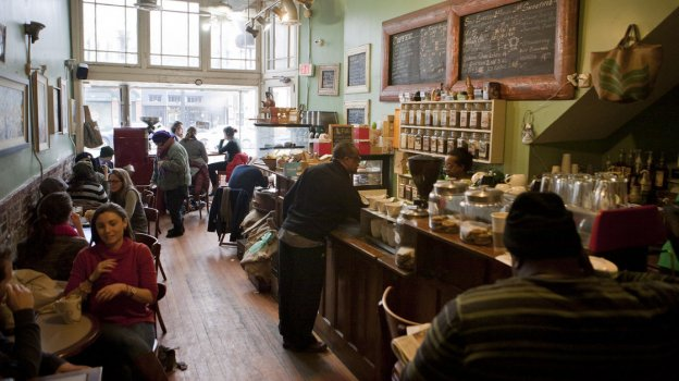 The bustling Sidamo coffee shop in Washington's H Street Northeast neighborhood. The area has attracted many new, young residents and high-end bars, retail and restaurants over the past several years.