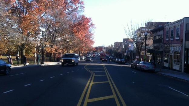 The changes made to Wisconsin Avenue in Glover Park included the addition of a painted median and dedicated turn lane.