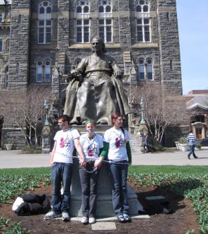Three Georgetown students have chained themselves to a statue of the school's founder, Bishop John Carroll. They are protesting the school's policies towards reproductive rights.