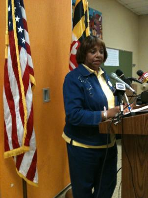 Baltimore Teachers Union President Marietta English briefs reporters on the contract election results.
