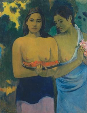 "Paul Gauguin, ""Two Tahitian Women"", 1899, oil on canvas, framed: 121.9 x 101.6 x 9.5 cm (48 x 40 x 3 3/4 in.), unframed: 94 x 75.4 cm (37 x 29 11/16 in.), Lent by The Metropolitan Museum of Art, Gift of William Church Osborn, 1949."