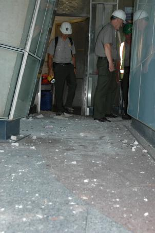 Surveyors found debris covering a stairwell inside the Washington Monument after a post-earthquake inspection.
